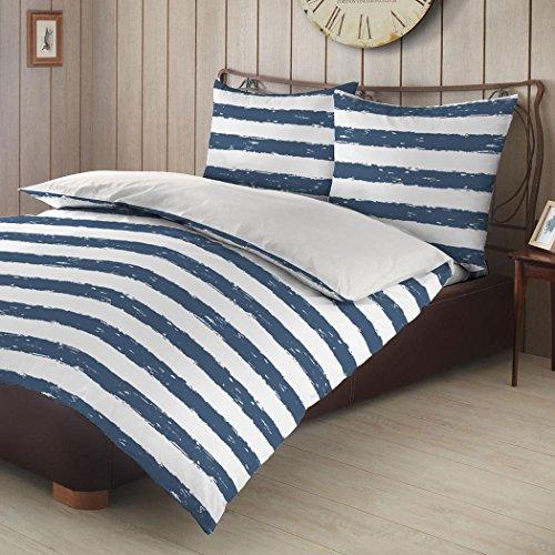 Bettwaren-Shop Biber Wendebettwäsche Streifen blau 155x220 cm + 80x80 cm