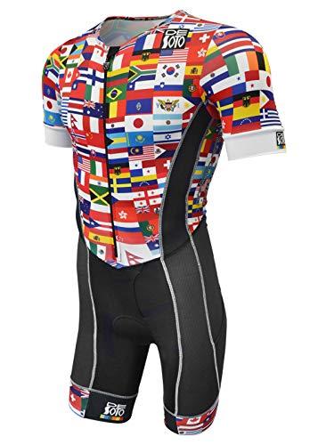 - De Soto Forza Sleeved Triathlon Flisuit - 2019 - FFTS (Size Medium, Flag)
