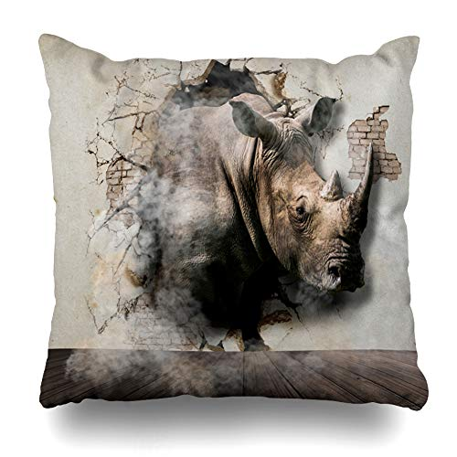 Ahawoso Throw Pillow Cover Out Abstract Rhinoceros Coming Walls Africa Big Blank Book Challenge Design Room Home Decor Pillowcase Square Size 16 x 16 Inches Zippered Cushion Case ()