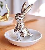 Sliver Bunny Rabbit Ring Dish Holder Jewelry Tray Earring Necklace Bracelet Display Organizer