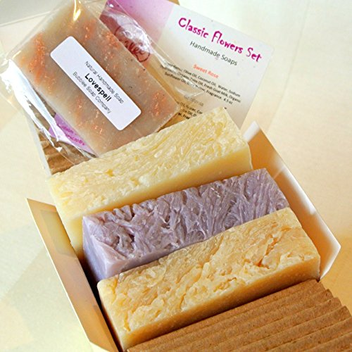 Natural Handmade Soap Gift Set – Rose, Lilac, Gardenia – with Natural / Organic Ingredients