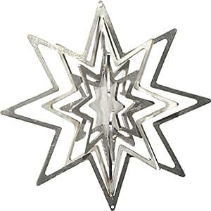 Fuego y acero Wind parte Estrella de acero inoxidable, ventanas, decoración árbol de Navidad, Ventana, joyas, colgador, Idea de Regalo, Navidad