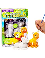 Made By Me Pets Figurines 2 Resin Paintables by Horizon Group USA, Cat & Dog, Acrylic Paints & Brush Included, Multicolor (203334)