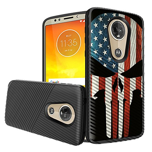 MINITURTLE Case Compatible w/Motorola Moto E5 Plus and Moto E5 Supra (2018) Case[Impact Resistance][Slim] Embossed Grip Texture - USA Flag Skull