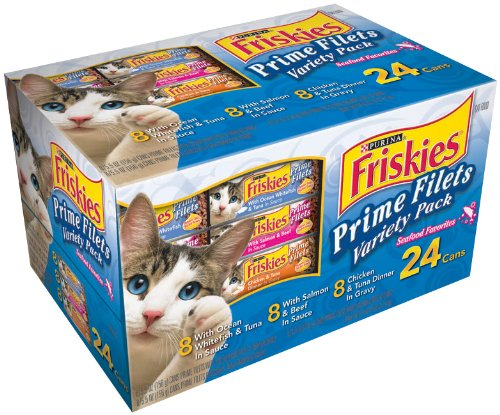 Friskies Wet Cat Food Prime Filets Seafood Favorites 3-Flavor Variety Pack  5.5-Ounce Can Pack of 24