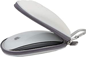 Hermitshell Hard Travel Case Fits Apple Magic Mouse (I and II 2nd Gen) and Carabiner (White)