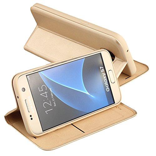 Nouske Samsung Galaxy S7 Funda protectora de tipo Cartera para teléfonos móviles/TPU protección frente a golpes/Estuche para tarjetas de crédito/Soporte/Conciso y Ultra delgado/Hebilla magnética,azul  Oro