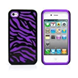 iPhone 4S Case, MagicMobile® Hybrid Armor Ultra Protective Case for iPhone 4 / 4S Cute [Zebra Pattern] Design Hard Plastic Shockproof Rubber Impact Resistant iPhone 4S Defender Cover - Black / Purple