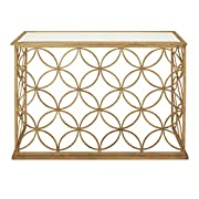 "Deco 79 67062 Metal Glass Console Table, 47"" x 32"", Gold"