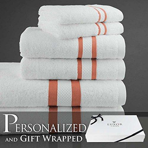 luxor-linens-proscia-collection-long-twist-cotton-6-piece-towel-set-stripe-paprika-with-custom-monog