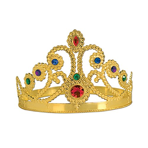 Club Pack of 12 Plastic Jeweled Gold Queen's Tiara Adjustable Party - Jeweled Tiara Queens Plastic