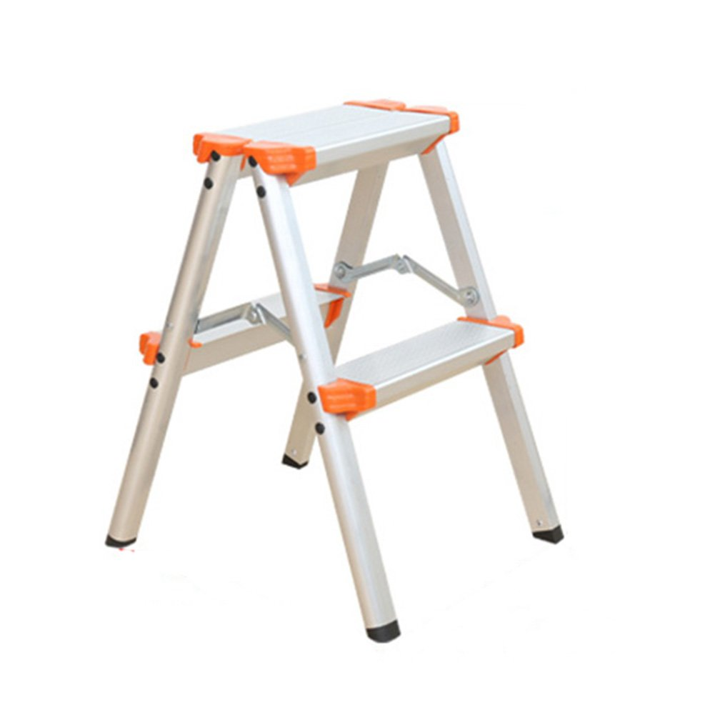 LXLA- Multi-Step Ladder Stool With Handrail Household Aluminum Alloy Footstool Thicken Portable Scissors Ladder For Home, Workshop, Garage (Size : 2-step)
