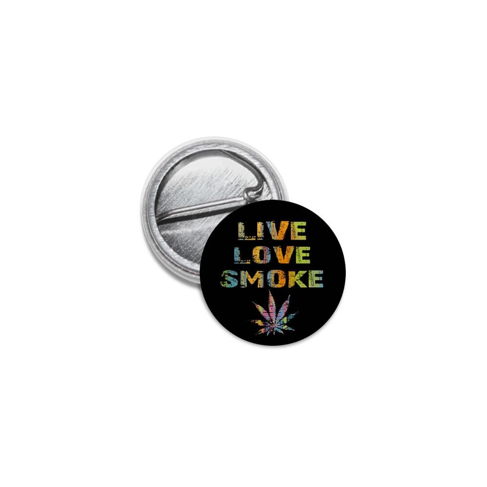 Live Love Smoke Marijuana Pot Leaf 100-Pack 1 inch Mini Pinback Button Badges by Stare At Me (Image #1)