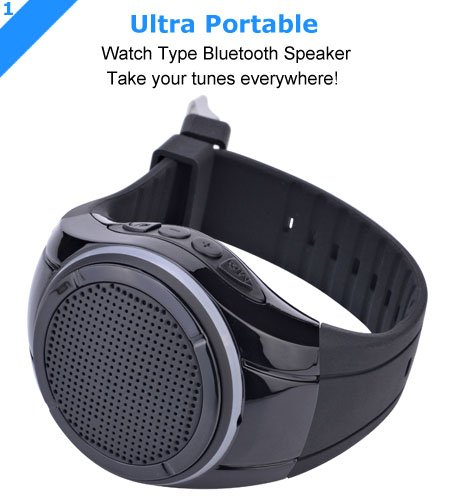 Frewico X10 Watch Shape Ultra Portable Outdoor Wireless Bluetooth Speakers with LED lights + FM radio + Microphone + MP3 Player, for Runner, Jogger, Bicycler, Climber, Hiker, Kid (Black without Card) by Frewico