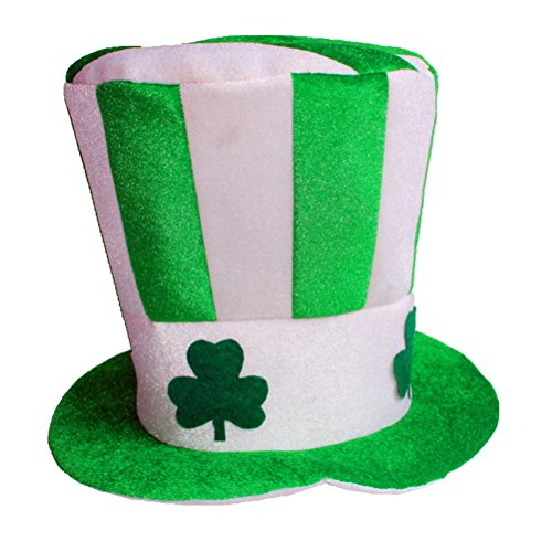 OULII Irish Hat Green Stovepipe Masquerade Shamrock Top Hat Dress Up For ST. Patrick's Day Party Costume Decoration