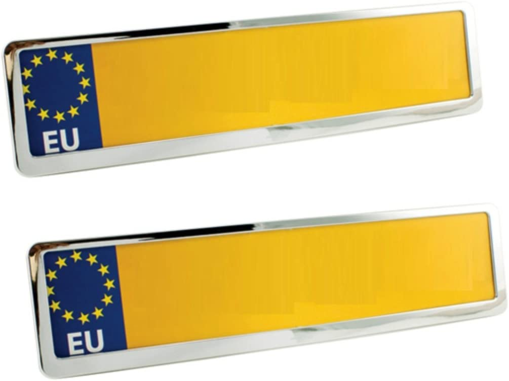 2X Chrome Car Number Plate Holders Frames Surrounds FOR SEAT Alhambra 01
