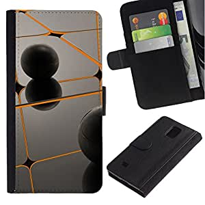 All Phone Most Case / Oferta Especial Cáscara Funda de cuero Monedero Cubierta de proteccion Caso / Wallet Case for Samsung Galaxy Note 4 IV // Orange & Black
