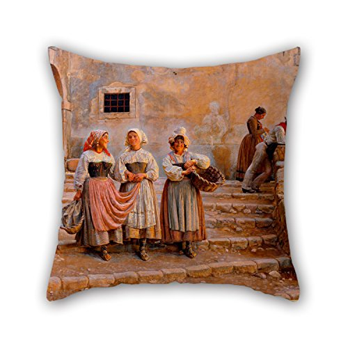 Artistdecor Oil Painting Kristian Zahrtmann - Young Women Transporting Lime. Civiitá D' Antino Pillow Cases 16 X 16 Inches / 40 By 40 Cm For Teens Girls,valentine,wife,home Office,bf,kids With (Bugs Bunny Female Adult Costume)