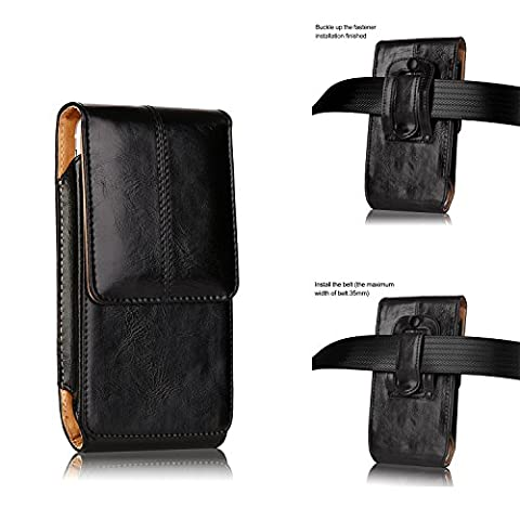 iPhone 8 7 Plus Pouch Case,Smooth Premium Genuine Leather Vertical Belt Holster Pouch Case with Belt Clip Buckle and Magnetic Closure for iPhone Samsug Galaxy Plus Size(5.5 Inch - Iphone Vertical Case