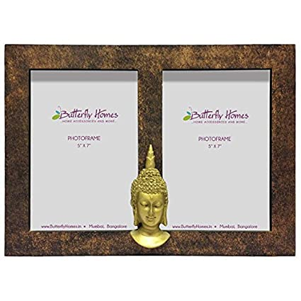 Buy Wooden Brown Textured Dual Photo Frame with Buddha Motif, Made ...