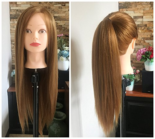 Professional 24 Inches Long 50% Real Human Hair Hairdressing Equipment Styling Head Doll Mannequin Training Head Tools Braiding Cutting Student Practice Model with Clamp Blonde