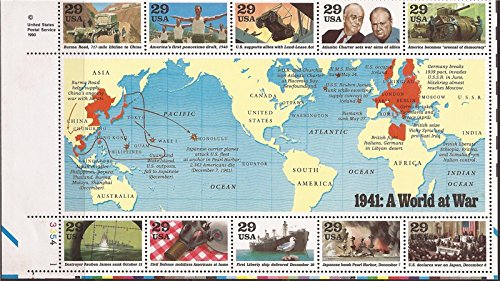 WWII, 1941: A World at War (World War II), Block of 10 x 29-Cent Postage Stamps, USA 1991, Scott 2559