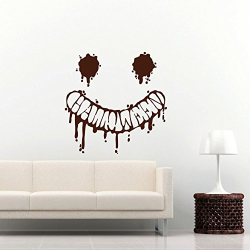 Smile Wall Decal Pumpkin Evil Scary Smile Halloween Decals Wall Vinyl Sticker Home Interior Wall Decor for Any Room Housewares Mural Design Graphic Bedroom Wall Decal Bathroom -