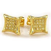 18k Gold Silver Black Canary ICED OUT Micropave Square Hip Hop Bling AAA CZ Mens Earring