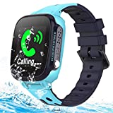 Kids Smart Phone Watches GPS Tracker IP67 Waterproof for Boys Girls with Touch Screen SOS 2 Way Call Camera Alarm Clock Math Game Watch Wristwatch iOS Android Birthday Gifts (Blue+Waterproof)