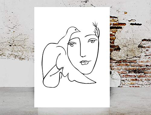 Line Art Drawing - Fashion wall art print - Picasso Dove Of Peace Woman Face Art Picasso Girl Line Drawing Sketch Female Poster on Fine Art Paper 1040