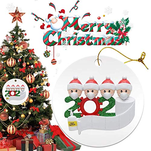 Christmas Ornaments 2020 Xmas Decorative Ornament DIY Quarantine Family Personalized Name with Face Mask Hand Sanitizer Toilet Paper, Creative Gifts for Family Customized (Family of 4 --White, 1 Pcs)