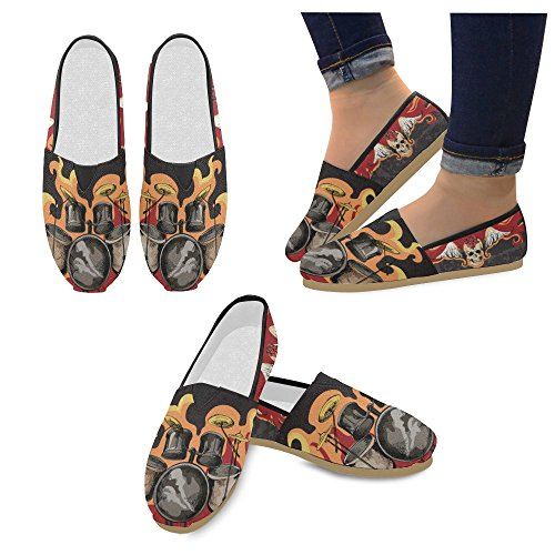 D-Story Fashion Sneakers Flats Motorbike and USA Flag Womens Classic Slip-On Canvas Shoes Loafers Rock Skull HbCOP2MT