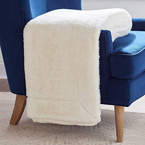 (Rivet Faux Fur Throw Blanket, Soft and Stylish, 80