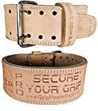 """Weightlifting Belt Double PRONG 100% Real Genuine Leather Individually Handmade 13MM Thick For Advanced WeightLifting Powerlifting 4"""" Wide (Natural Leather Color, Small 24″- 30″ Waist Size)"""