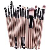 #3: 15pcs Makeup Brushes, Emubody Eye Shadow Foundation Eyebrow Lip Brush Makeup Brushes Tool (GOLD)