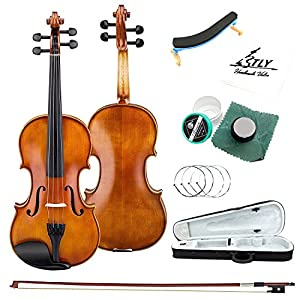 TLY Acoustic Professional Violin Handmade Wooden Outfit Beginner Pack for Student, Size 4/4 (Full Size)