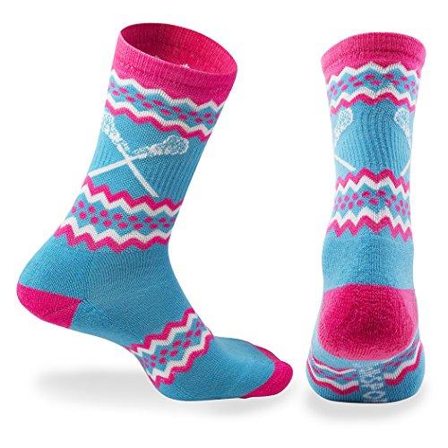 ChalkTalk SPORTS Athletic Half Cushioned Lacrosse Crew Socks | Mid Calf | Aztec Girls Lacrosse Design | Neon Blue by ChalkTalkSPORTS