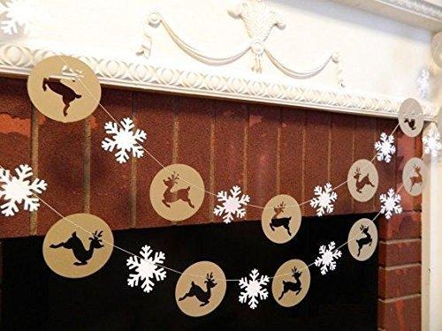(Fashionclubs Christmas Reindeer Snowflake Burlap Bunting Garland Banner)