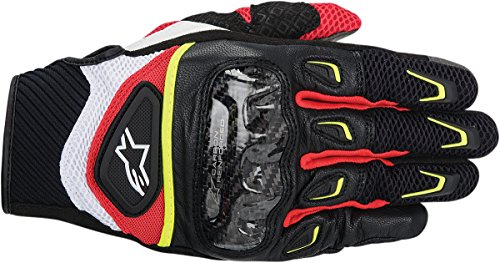 (NEW ALPINESTARS SMX-2 AIR CARBON ADULT LEATHER GLOVES, BLACK/WHITE/YELLOW/RED, 3XL/XXXL)