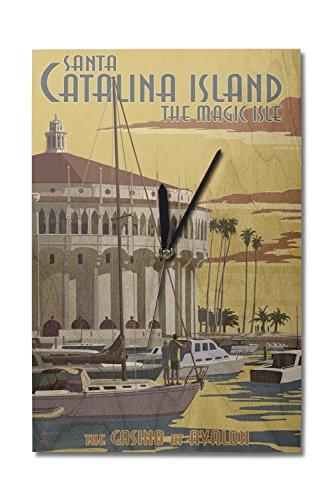 Lantern Press Catalina Island, California - Casino and Marina (10x15 Wood Wall Clock, Decor Ready to Hang) ()