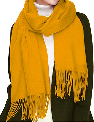 Cashmere Wool Scarf, Large Soft Women Men Scarves Winter Warm Shawl Gift Package (Golden Yellow)