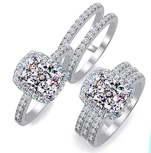 (101 Facets Realistic 2 Carat Emerald Rectangular Cushion Halo NSCD Simulated Diamond Ring Double Band Set 925 Silver Platinum Plated RRDB80)
