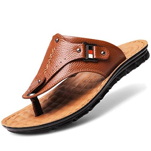 Slip Sandalias De De Libre Playa Slippers para Aire Cuero Sandalias Tamaño Caminar De Gran Zapatos Adultos Al MERRYHE De para Hombres Piscina Genuino On Yellow3 para SYnqwOT5xC