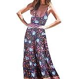 SNOWSONG Women's Summer Casual Loose Dress Beach Cover Up Long Cami Maxi Dresses V Neck Party Dress (XL, Black)