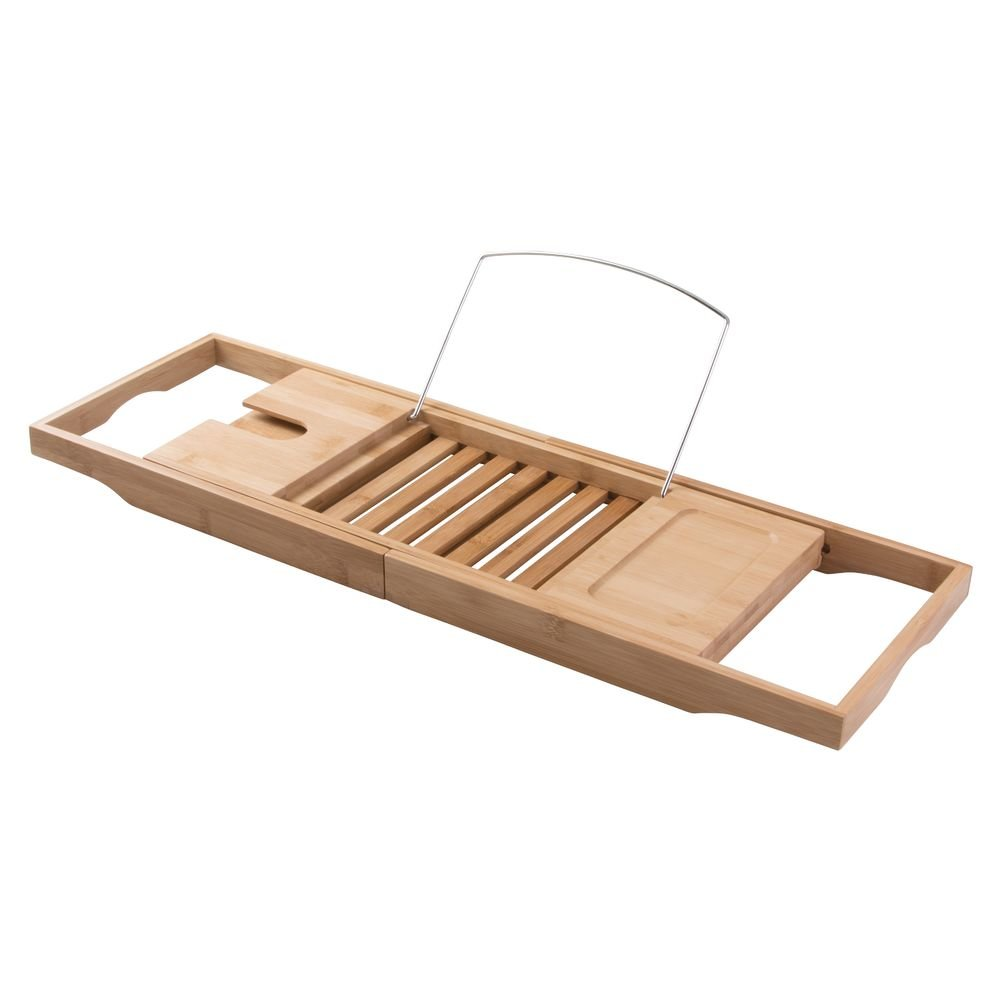Flyerstoy Bamboo Bathtub Caddy, Adjustable Wooden Serving Tray and ...