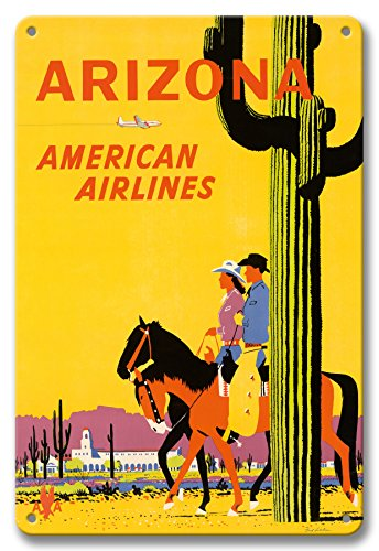 Pacifica Island Art 8in x 12in Vintage Tin Sign - Arizona - American Airlines - Riders on Horseback - Saguaro Cactus, State Flower of Arizona by Fred Ludekens