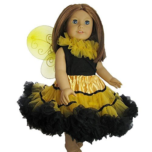 Doll Clothes Bee Fairy Princess outfit with pettiskirt tutu top and wings - fits 18