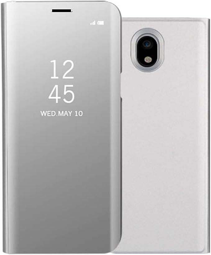Galaxy J3 2017 móvil Espejo Cover, Samsung Galaxy J3 2017 Espejo piel, fnbk Ultra-Slim Mirror Case Cover Flip Carcasa Clear teléfono móvil Cartera, plata: Amazon.es: Instrumentos musicales