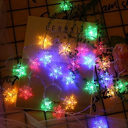 TINKSKY イルミネーションライト ワイヤーライト 雪の結晶 銅線ライト 電池式 クリスマス飾り パーティ/結婚式 電飾 50球 5M 七色