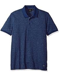 Boss Orange Men's Short Sleeve Mouline Stripe Cotton Blend Polo